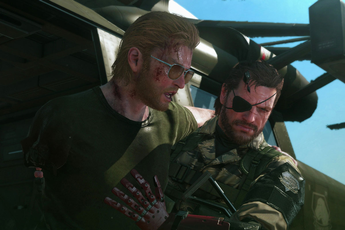 Snake helps Kaz off of a chopper in Metal Gear Solid V: The Phantom Pain